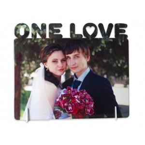 """Стальная фоторамка """"One love"""" с вашим фото"""