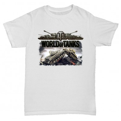 Белая футболка с принтом World of tanks