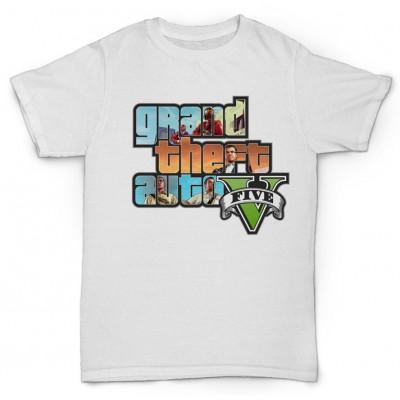 Белая футболка с принтом Grand Theft Auto V