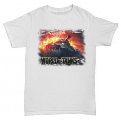 Белая футболка с принтом World of tanks в огне