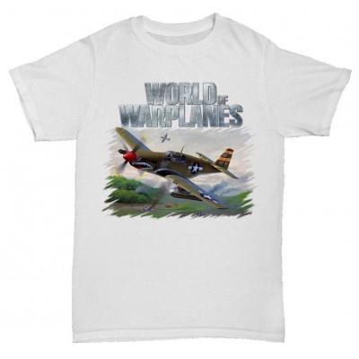 Белая футболка с принтом World of Warplanes