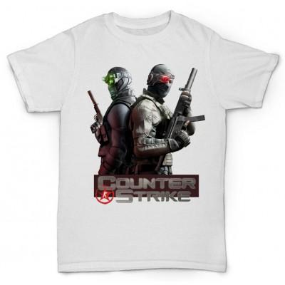 Белая футболка с принтом Counter-Strike