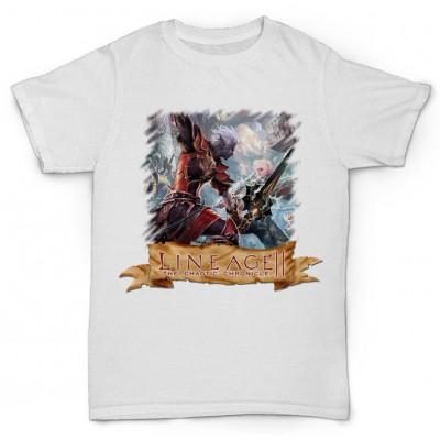 Белая футболка с принтом Lineage II