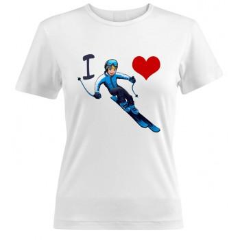 "Футболка ""I love горные лыжи"""