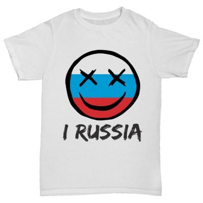 """Прикольная футболка  """"I RUSSIA"""""""