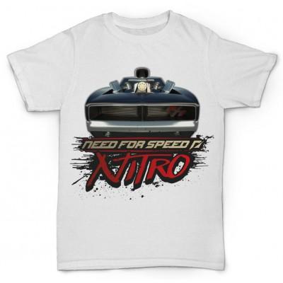 Белая футболка с принтом Need for Speed